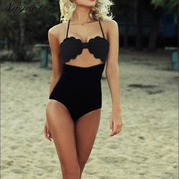 Women Cut out front One Piece Swimsuit High Waist Swimwear Halter Top Push Up Monokini Beach Bathing Suit