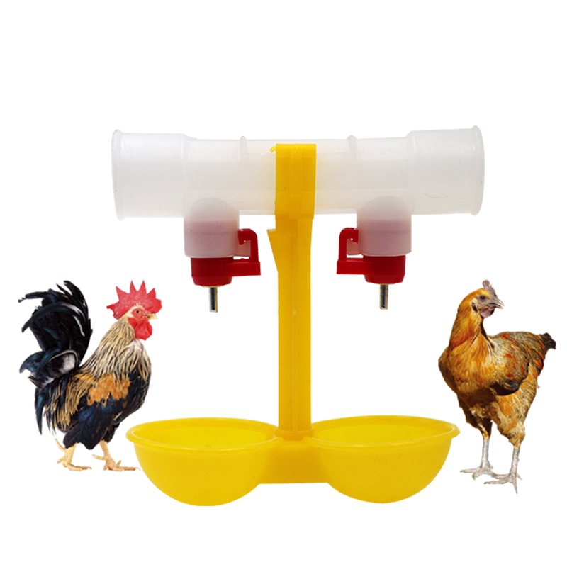 Pet Supplies Double Outlet Drinking Hanging Chickens Cups Nipple Drinker Poultry Waterer Feeding Supplies Drinkers for Chickens