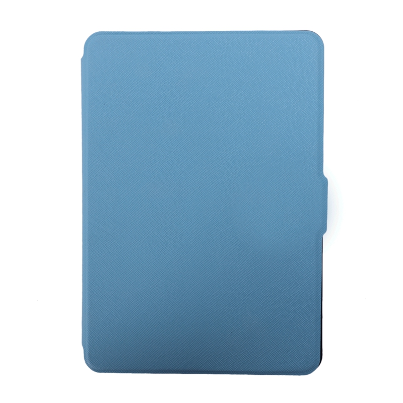 Magnetic PU Leather Cover Case Slim For Amazon Kindle Paperwhite (Cross Pattern, Blue)