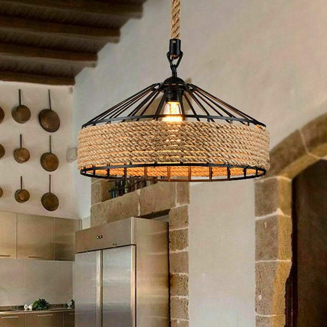 E27 Hennep Touw Opknoping Lamp Vintage 1