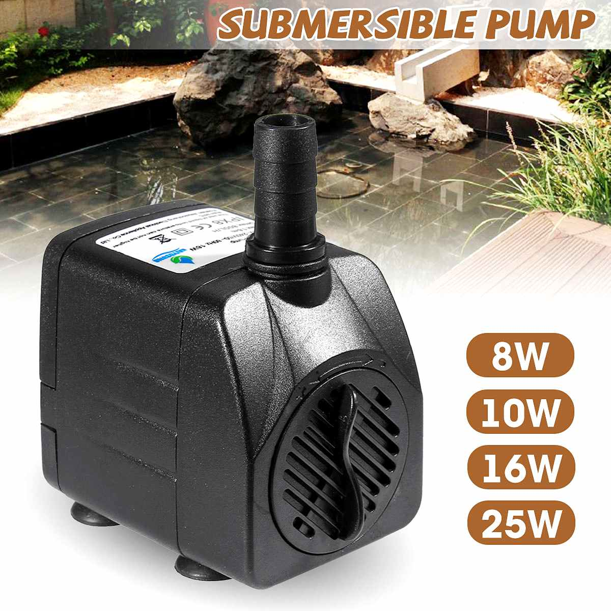 Submersible Water Pump Oxygen Pump 8W/10W/16W/25W Electric Water Pump Aquarium Fish Tank Pond Fountain Garden Decoration 220V