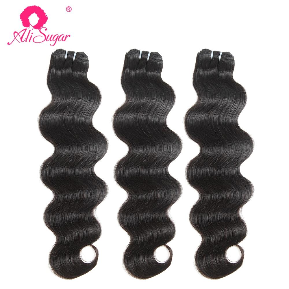 Ali Sugar Virign переплетенные перуанские волнистые волосы 3 пряди натурального цвета человеческие волосы для наращивания