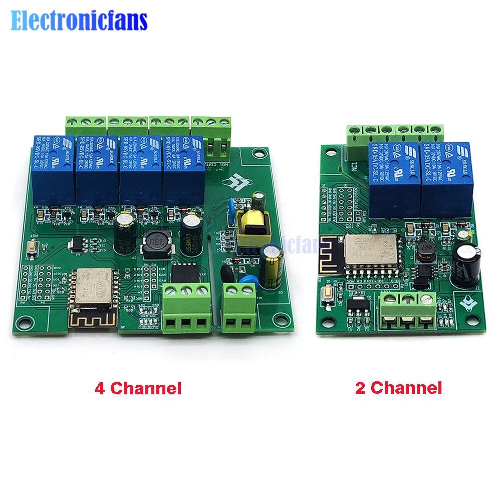 AC/DC Питание ESP8266 Беспроводной WI-FI 2 канала 4-Канальный Релейный Модуль ESP-12F WI-FI макетная плата для Arduino 5V/8-80V