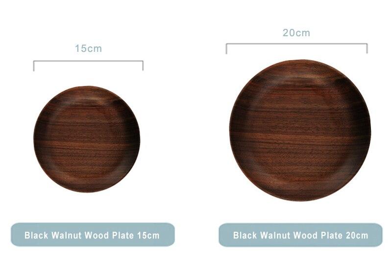 Dia 15cm 20cm Wood Dish Plates Premium Black Walnut Wooden Tableware Dishes Round Cake Dessert Serving Plate Kitchen Utensils (1)