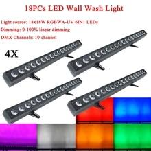 4 יח\חבילה 18x18W RGBWA UV 6IN1 LED מכונת כביסה קיר אור DMX512 צליל דיסקו DJ מסיבת בר חתונה קיר לשטוף שלב אפקט תאורה
