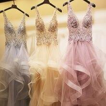 Женское вечернее платье из тюля длинное сексуальное с v образным