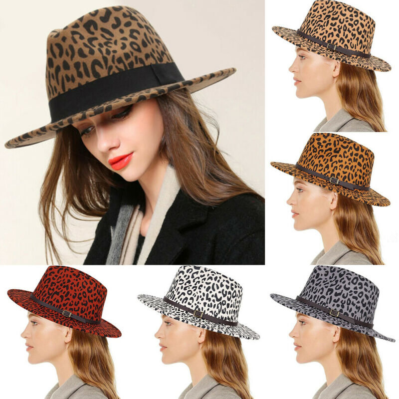 Fashion Unisex Hard Felt Panama Hat Fedora Trilby Hats <font><b>Gangster</b></font> Caps Wide Brim image