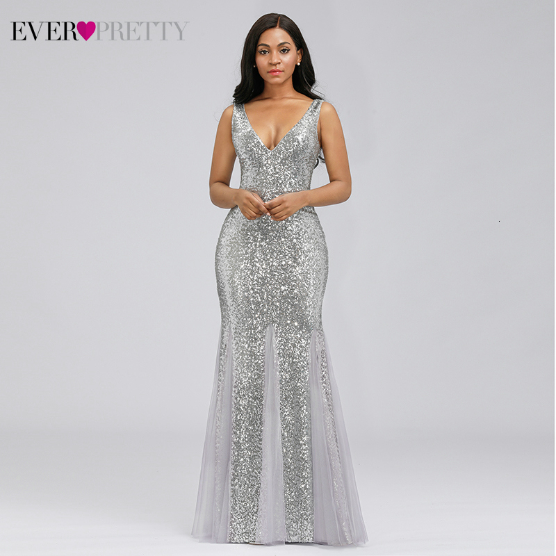 Sexy Sparkle Prom Dresses Ever Pretty Mermaid Sequined Double V-Neck Sleeveless Sexy Evening Party Gowns Vestidos Formales 2019