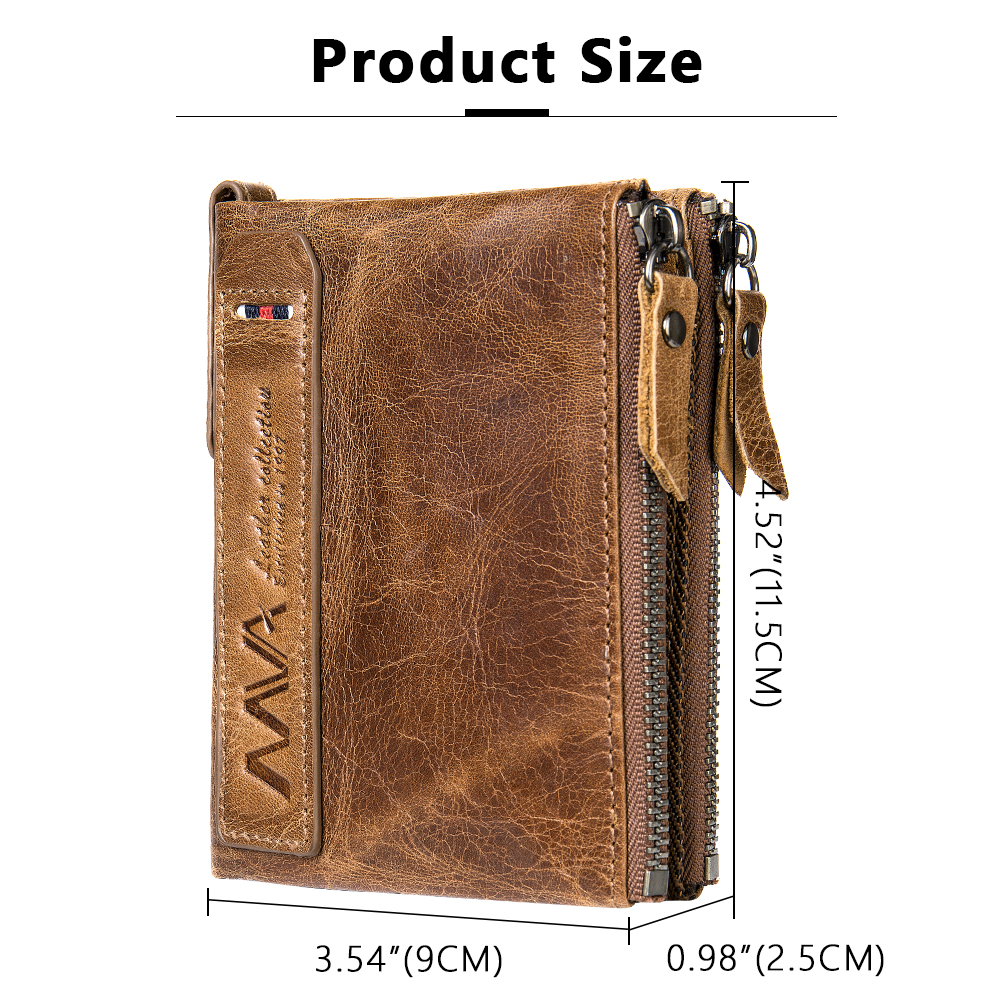 Men Wallet Genuine Leather Wallet Men With Coin Pocket Vintage Wallets Zipper Leather Purse For Man Crazy Horse Wallets Man 9050 Men Men's Bags Men's Wallets