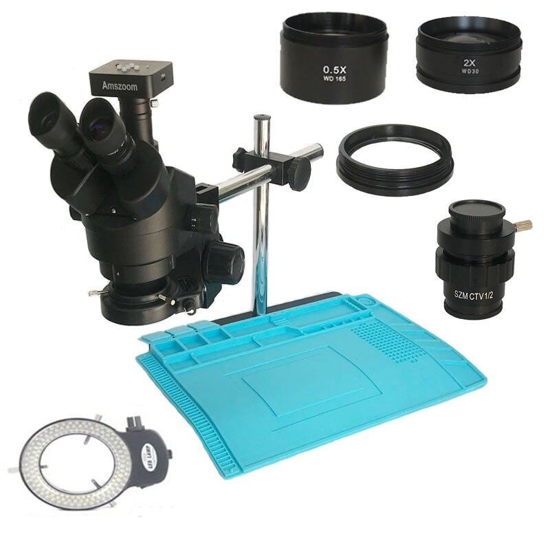 34MP numérique vidéo HDMI USB microscope caméra 3.5X-90X simul-focal trinoculaire stéréo Microscope soudure pcb téléphone Kit de réparation