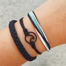 New Bohemian wind wax line weaving wave wave twist knitting bracelet set cross border hot