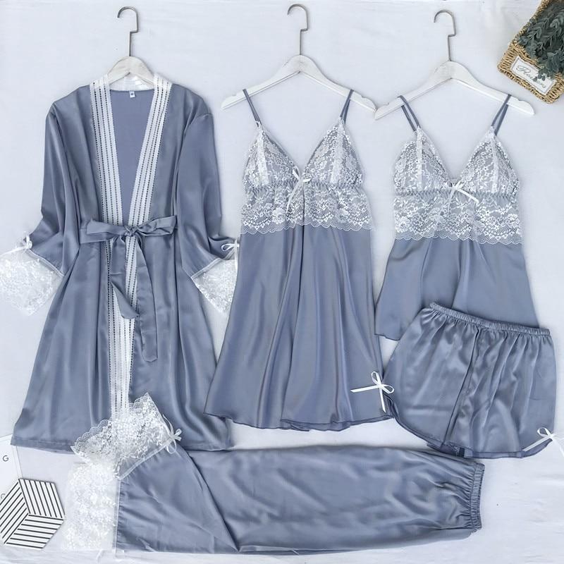 QWEEK Silk Women Pajamas 5 Pieces Set Sleepwear Sexy V-neck Nightwear Home Clothes Satin Pijamas Women Pyjamas 2020 Sleep Lounge