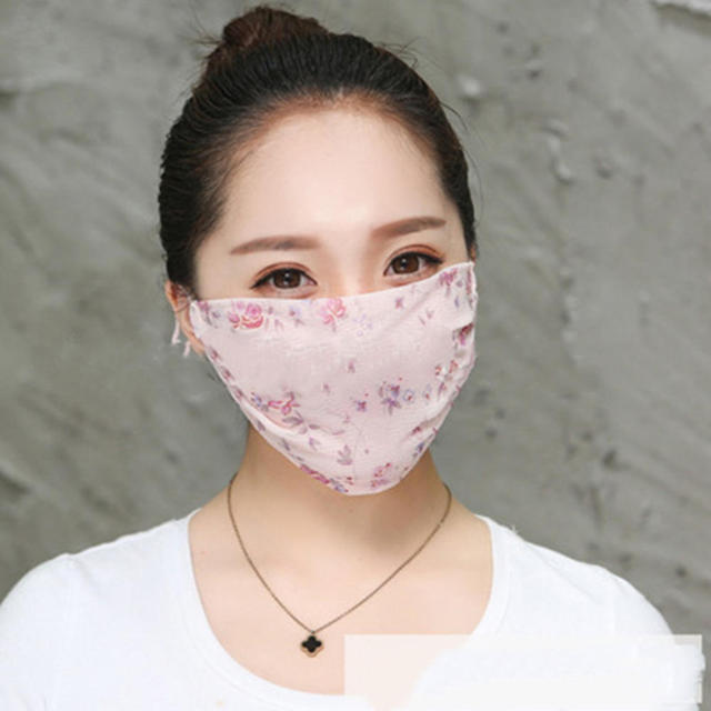 Hot New Korean Version Of Lady Chiffon Floral Female Summer Ultra-thin Sunscreen And Breathable UV Protection Mask Thin Masks 4