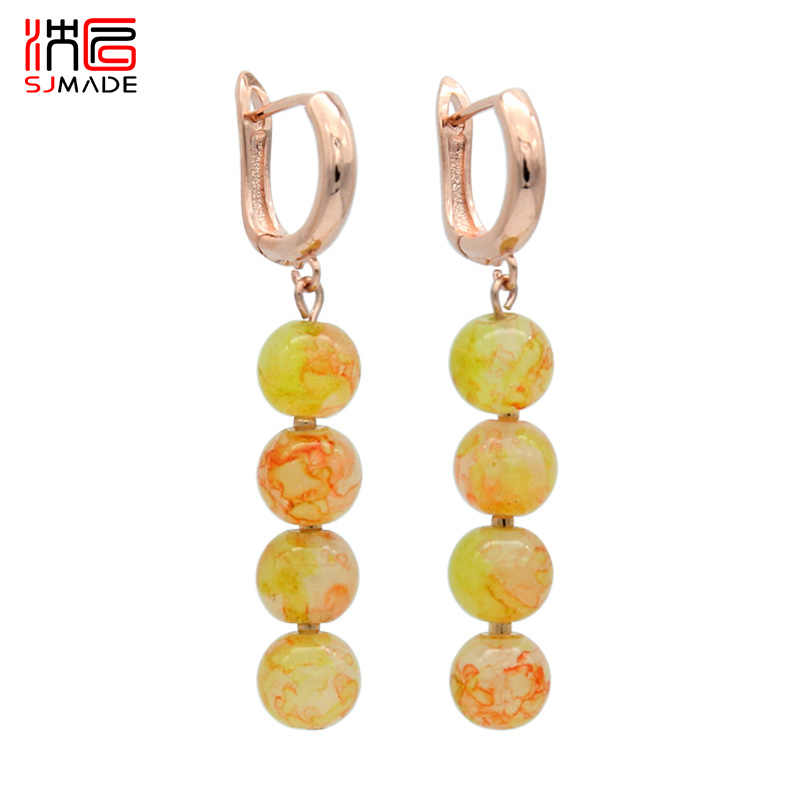 SJMADE Japanese South Korean  New Fashion Round Colored Glass Beads Dangle Earrings 585 Rose Gold For Women Girls Party Jewelry