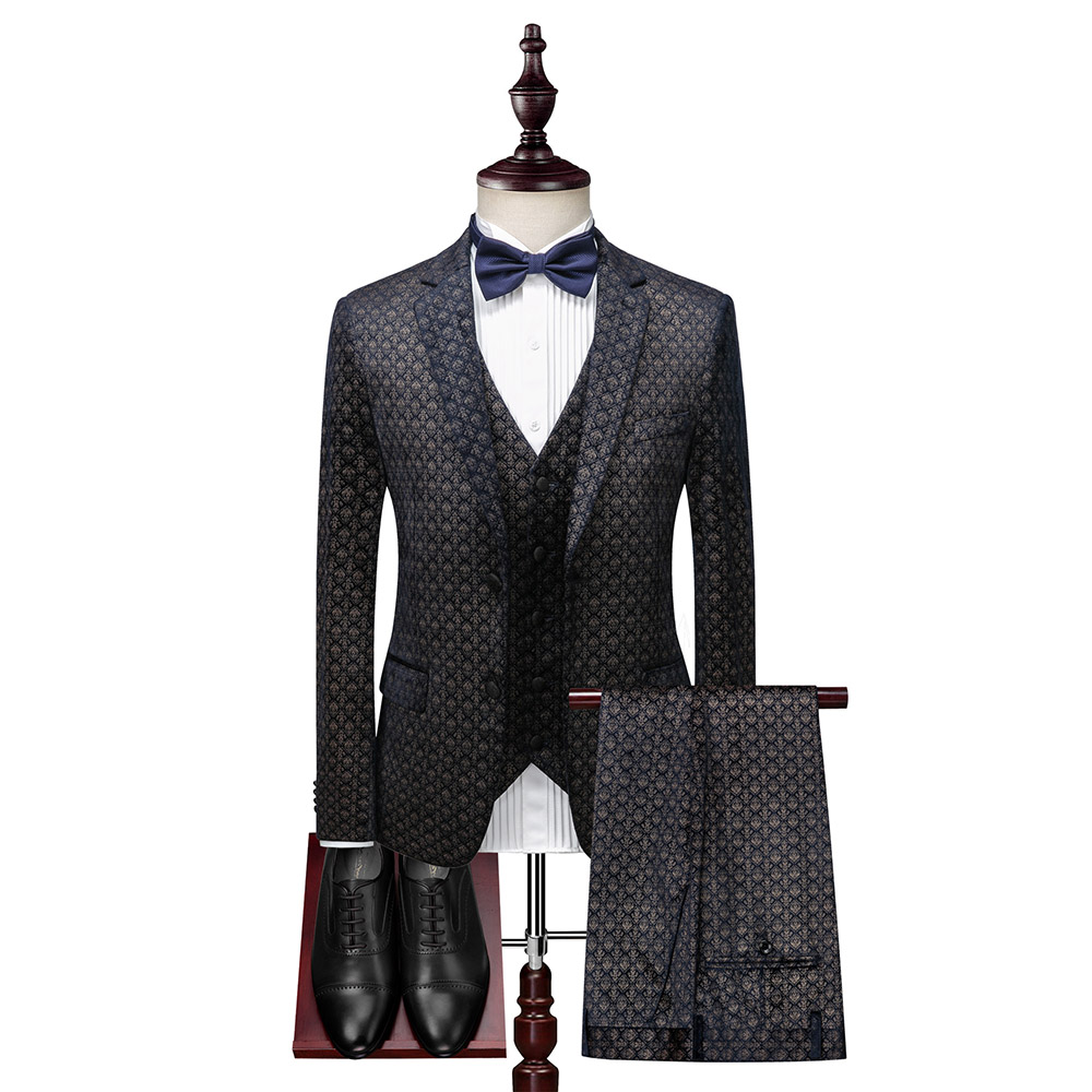 Dressv Men Suit British Style Business Slim Plus Size Dark Blue Tow Buttons Jacket+Vest+Pants For Wedding Party Groom Suits