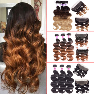 Ombre Body Wave Bundles With Frontal Honey Blonde Human Hair Bundles With Frontal 1b/4/30 Brazilian Colored Bundles With Frontal(China)