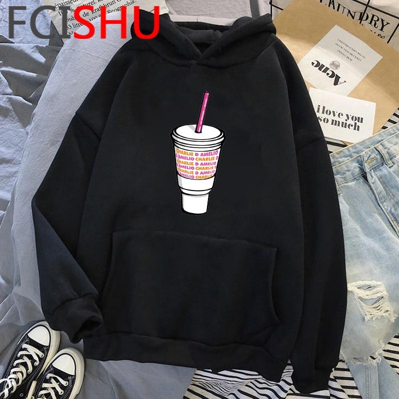 Fashion Charli Damelio Merch Ice Coffee Graphic Hoodies Women Harajuku Ullzang Funny Cartoon Sweatshirt Wimter Warm Hoody Female 22
