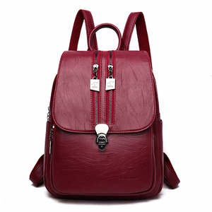 Image 2 - 2019 Solid Leather Backpacks Female Travel Large Capacity Backpack School Preppy Style Women Backpack Laptop Sac a Dos Rusksacks