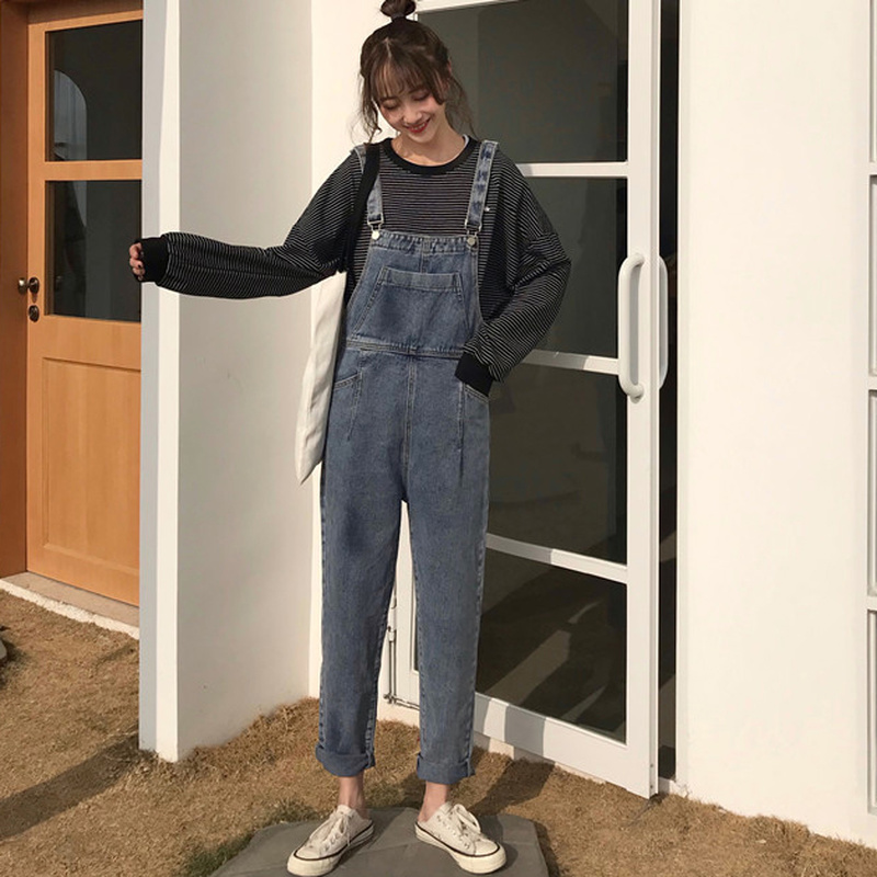 Autumn New Style Straps Jumpsuits Jeans Female Cropped Long Loose Rompers Overalls For Women Bodysuits Casual Denim Jumpsuits