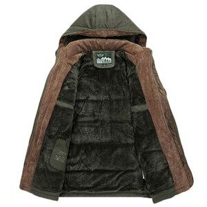 Image 2 - Chaqueta gruesa de lana para hombre, abrigo de invierno, abrigo informal a prueba de viento con capucha, Parkas militares de talla grande 6XL 7XL