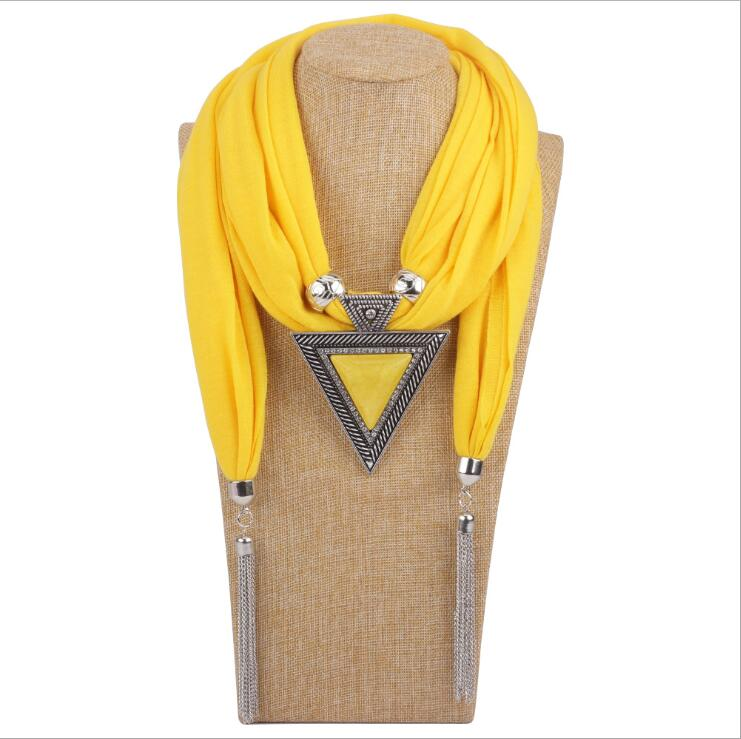 Fashion Triangle Pendant Scarf With Tassel Women's Jewelry Scarves Resin Alloy Pendants Scarf And Necklace Cotton Female Echarpe