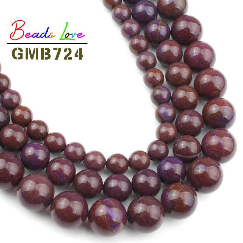 Hurtownie naturalne Zijin fioletowy kamień okrągły luźne koraliki do tworzenia biżuterii 6 8 10mm Charm bransoletka Zrób To Sam naszyjnik biżuteria 15 Cal