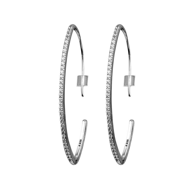 Oval Shape Sparkling Hoop Earrings Sterling Silver 925 Jewelry Charm Clear CZ Earrings for Women Fine Silver Earrings Jewelry