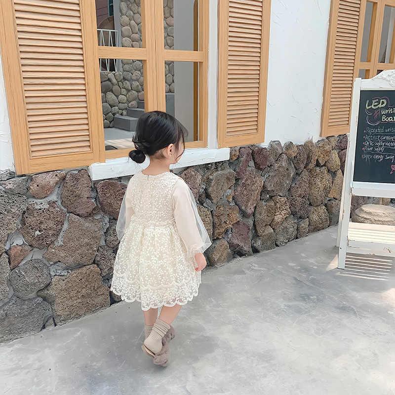 Autunno Ragazze Vestiti per Il Partito E La Cerimonia Nuziale Nuovo Del Bambino Occidentalizzata Abiti Della Principessa Dei Bambini Manica Lunga Lacca Vestito