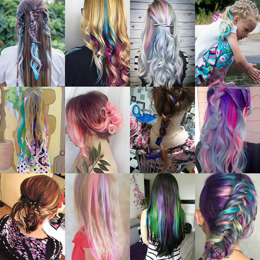 AliLeader Made 57 Colors 50CM Single Clip In One Piece Hair Extensions Synthetic Long Straight Ombre Grey Red Rainbow Hair Piece 6