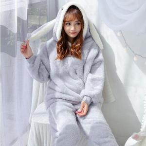 Image 4 - Fdfklak Cartoon cute pajamas for women long sleeve flannel winter pyjamas women home suit warm sleepwear pajama pijamas sets