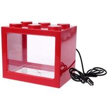 Мини аквариум Usb СВЕТОДИОДНЫЙ светильник для аквариума домашний офис чайный столик украшение маленький строительный блок аквариум-красный
