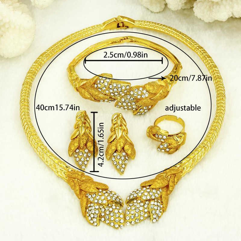 Liffly Dubai Schmuck-Sets für Frauen Dubai Nigeria Kristall Halskette Armband Braut Geschenk Afrikanische Hochzeit Brautjungfer Schmuck Sets