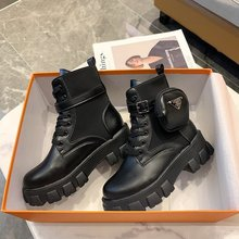 TYDZSMT 2021 Spring Women Ankle Boots Pocket Short Boot Ladies Lace Up Shoes Female Platform Comfortable Black Chunky Ankle Boot