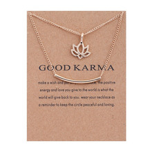 Good Karma Lotus Flower Gold Color Necklaces Pendant Women Jewelry For Women Clavicle Chains Collar cd roxette good karma
