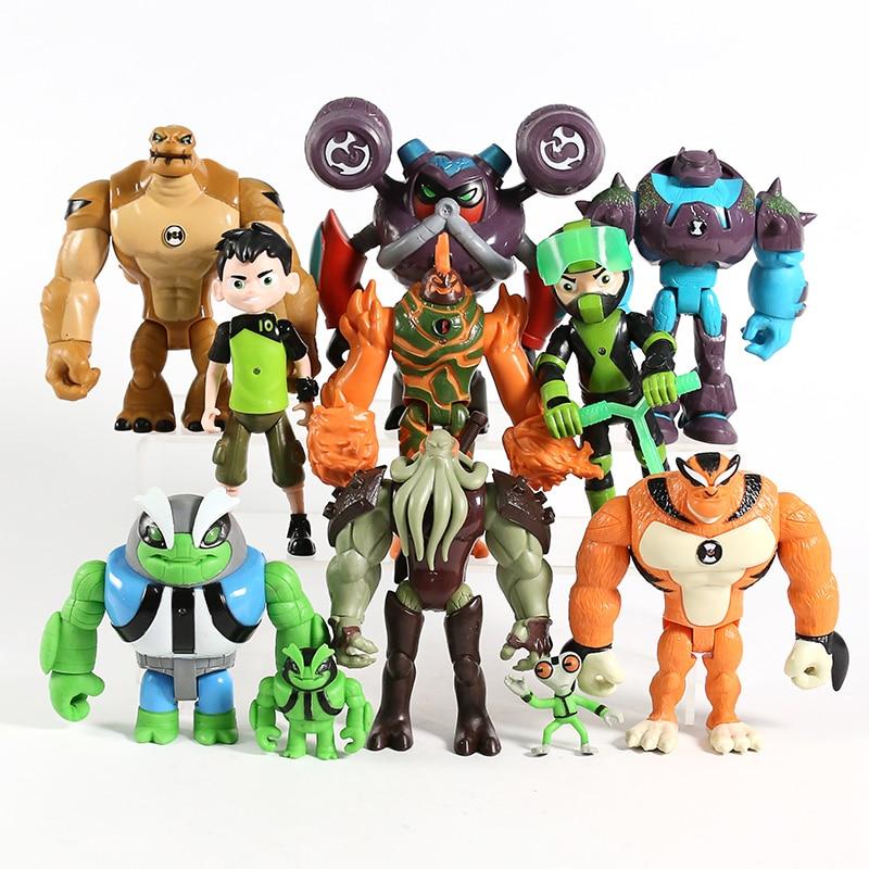 11 pçs/set Ben Grey Importa Heatblast Humongousaur Rath Vilgax Ação PVC Figuras Presentes Brinquedos Infantis|Figuras de ação|   -