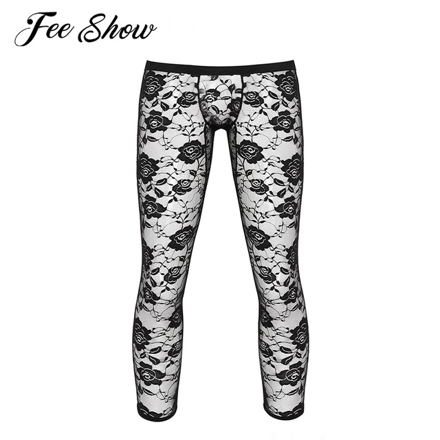 Mens See Through Sheer Floral Lace Legging Pants Low Rise Bulge Pouch Footless Tights Trousers Ankle Length Stretchy Leggings 1