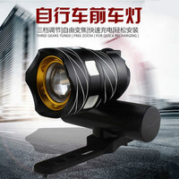 Mountain Bike Headlights T6 Night Ride Strong Light Torchlight Mountain Bike Usb Charging Lamp Warning Lamp Bicycle Accessories