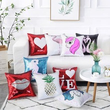 Big-Pillow Cushion Toys Throw Sofa Unicorn Glitter Stuffed Animals Soft Creative Sequin
