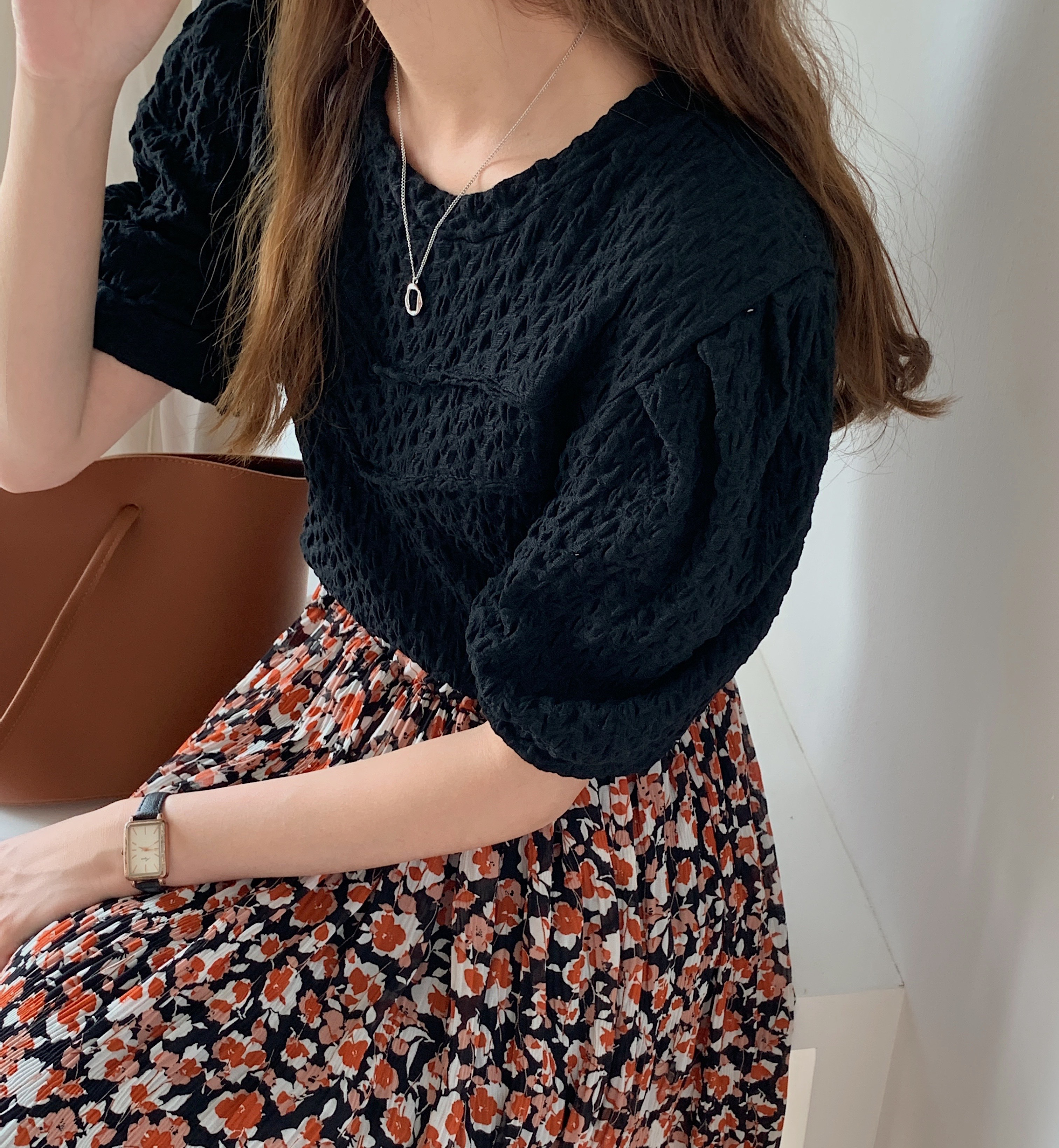 H291a3fb013f349da99991a90ee9f1859R - Summer O-Neck Short Sleeves Pleated Blouse