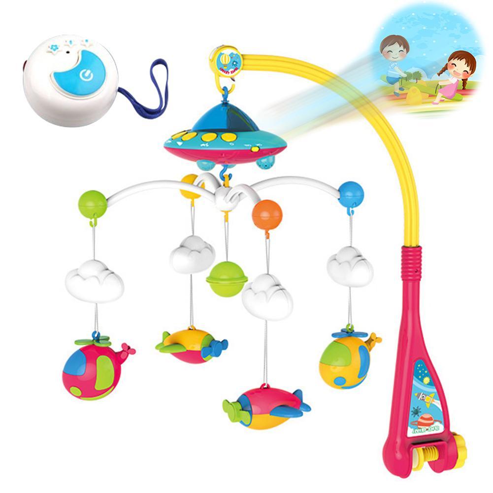 Nouveau-né Bébé Hochets Mobiles de Berceau support de jouet Rotatif Berceau Mobile Lit Boîte À Musique Projection 0-12 Mois Nouveau-Né Infantile Bébé Jouet