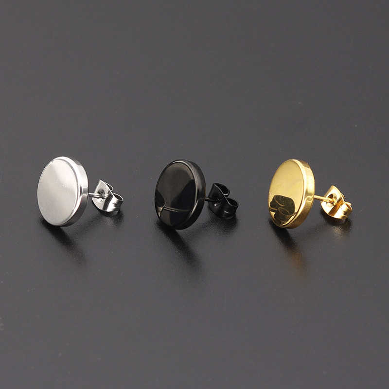 חדש 1 זוג פאנק 4-12MM עגילים עגול נירוסטה זהב כסף עגילי נשים חם היפ הופ גברים אוזן תכשיטי רחוב עגיל
