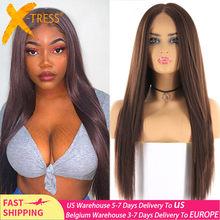Peluca con malla frontal sintética para mujeres negras, Color marrón medio, pelo largo y liso, parte media, X-TRESS de fibra resistente al calor