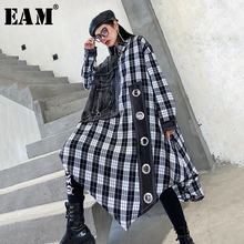 [EAM] Women Black Denim Irregular Big Size  Dress New Lapel Long Sleeve Loose Fit Fashion Tide Spring Autumn 2021 1Y707