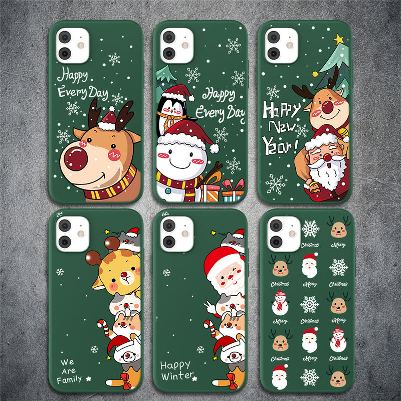 GTWIN Christmas New Year Gift Soft Green Phone Case For iPhone 11 11Pro Max XR X XS Max X 7 8 6 6S Plus 5 5s SE 2020 Back Cover
