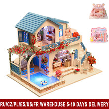 Colorful Miniature Dollhouse Children DIY Doll House Child Handmade Assembly Model House Toy Boy Girl Dollhouse Birthday Gift