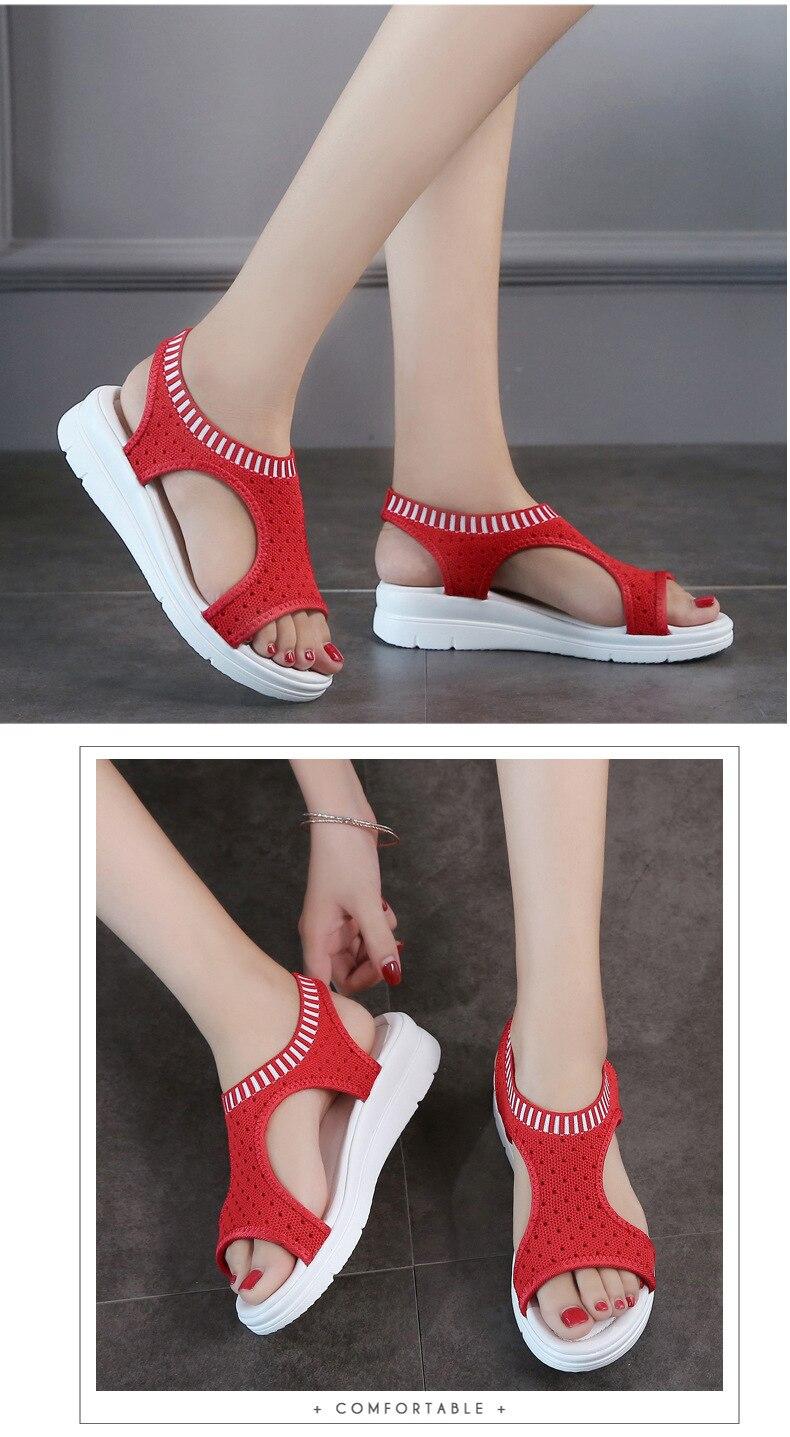 H291aabcf896043b6befc0dd95d731b2b9 WDZKN 2019 Sandals Women Summer Shoes Peep Toe Casual Flat Sandals Ladies Breathable Air Mesh Women Platform Sandals Sandalias