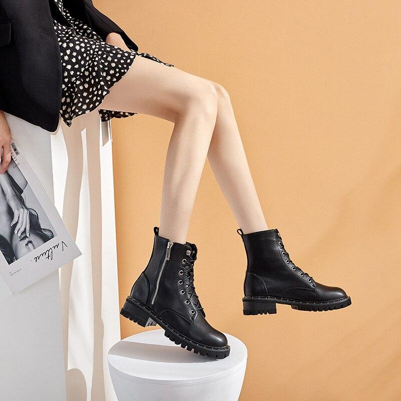 Модные Нескользящие теплые женские ботинки на толстой подошве; Сезон осень-зима; Однотонные полусапожки; Женская обувь; FD-44; 2020