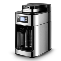 Cafe American Drip Coffee Maker Coffee Machine Fully Automatic Grinding Beans Soy Flour Household Tea One Machine LED Display