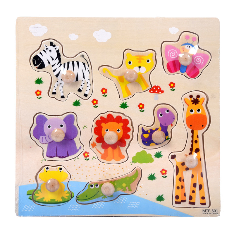 Kids Toys Montessori Wooden Puzzle Hand Grab Board Set Educational Wooden Toy Cartoon Vehicle Animal Puzzles Child Gift