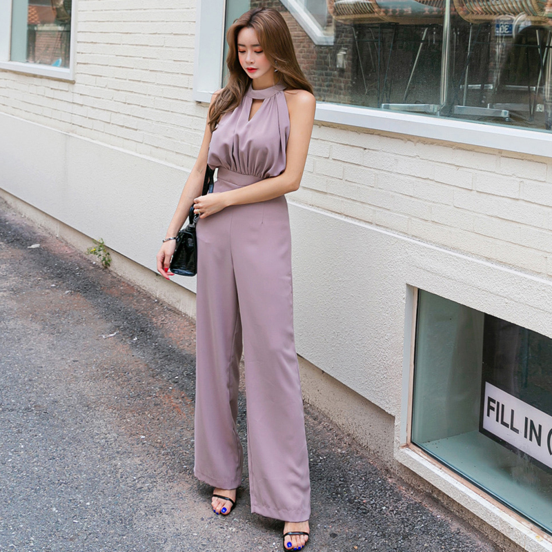 Summer Sleeveless Jumpsuit New Solid Color OL New Fashion Casual Loose Pant Casual Comfortable Temperament High Quality Jumpsuit